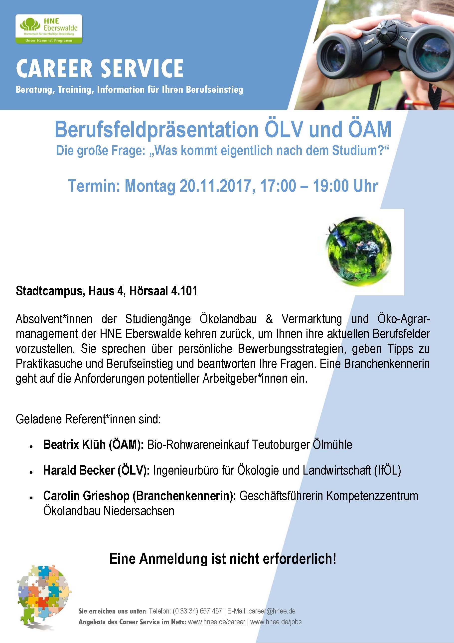 Innovationsforum ökolandbau Brandenburg Berufsfeldpräsentation Am
